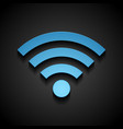 Blue wifi tech icon on black background vector image