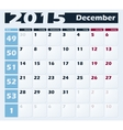 Calendar 2015 December design template vector image vector image