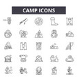 camp line icons signs set outline vector image vector image