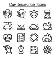 car insurance icon set in thin line style vector image vector image