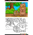 cartoon bear with honey coloring book vector image vector image
