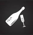 champagne bottle with glass on black background vector image