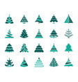 Christmas tree simple color flat icons set