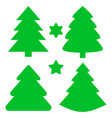 christmas trees and stars set vector image