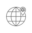 coronavirus location pin in globe line icon vector image vector image