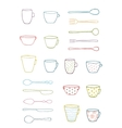 Cups Mugs Silverware Outline Drawing Design Set vector image