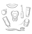 Dental hygiene medical icons in sketch style vector image vector image