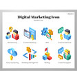 digital marketing icons isometic pack vector image vector image