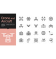 drone aircraft and aerial icons modern line