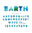 earth landscape modern font blue and green abc vector image