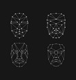 face recognition grid set vector image vector image