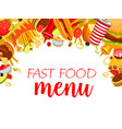 fast food meals menu poster vector image vector image