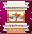 fifty two years anniversary celebration design vector image vector image