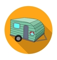green caravan icon in flat style isolated on white vector image vector image