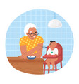 happy grandmother feeding grandson sitting in baby vector image vector image