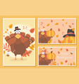 happy thanksgiving turkey with pilgrim hat leaves vector image