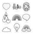 hello set of cartoons vector image
