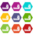 history castle icons set 9 vector image vector image