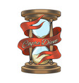 hourglass in engraving style vector image vector image