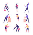 male and female business people characters pushing vector image vector image