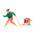 man and boy in sled holding present box vector image vector image