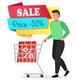 man push shopping trolley black friday 50 sale vector image vector image