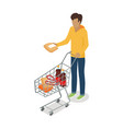 man with cart purchases flat design shop trolley vector image vector image