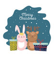 merry christmas celebration cute rabbit and vector image vector image
