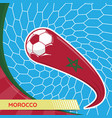 morocco waving flag and soccer ball in goal net vector image