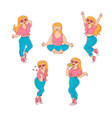 plump obese woman having fun set vector image