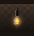realistic light bulb vintage edison glowing lamp vector image
