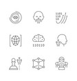 set line icons artificial intelligence vector image