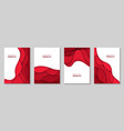 vertical flyers with red paper cut waves shapes vector image vector image