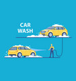washing car with foam at vector image