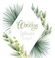 wedding watercolor bouquet with palm leaves vector image vector image