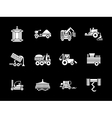 White glyph agriculture vehicles icons