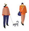 winter activity woman walking with dog and guy vector image vector image