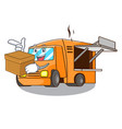 with box food truck with isolated on mascot vector image