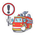 with sign fire truck character cartoon vector image vector image
