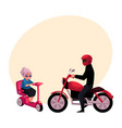 young man riding motorcycle and old woman driving vector image vector image