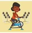 Young woman riding stationary bicycle vector image vector image