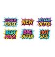 Sale set icons Comic text pop art style vector image