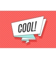 Ribbon banner with word Cool in retro pop art vector image