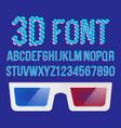 3d font pixel holographic 3d effect font vector image vector image