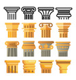 ancient column icon set architecture roman vector image