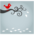 autumn bird with fallen leaf vector image vector image