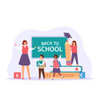 back to school happy teacher meet students with vector image vector image