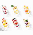 big collection of fruit in a milk splash vector image vector image