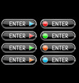 black enter button with colored arrows and circles vector image vector image