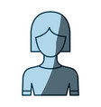blue color shading silhouette faceless half body vector image vector image